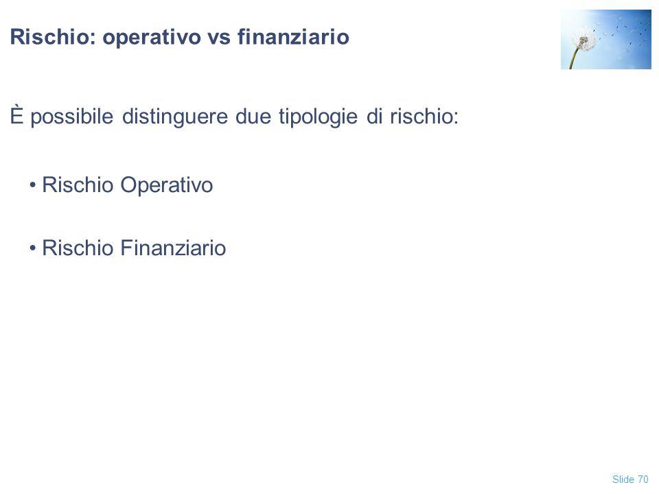 Rischio: operativo vs finanziario