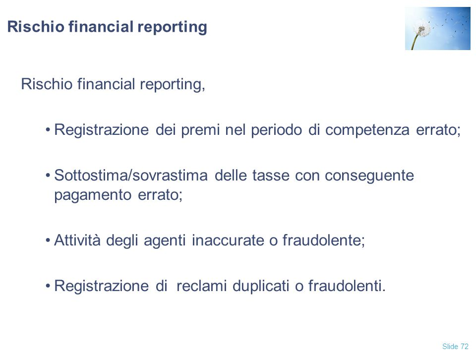 Rischio financial reporting