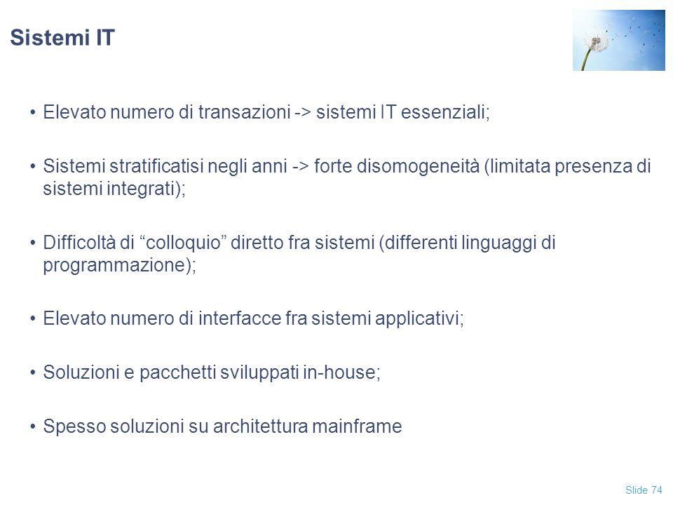 Sistemi IT Elevato numero di transazioni -> sistemi IT essenziali;