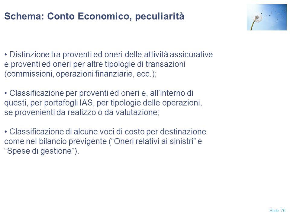 Schema: Conto Economico, peculiarità