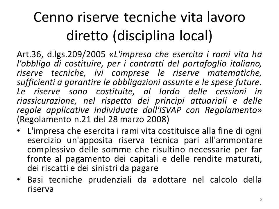 Cenno riserve tecniche vita lavoro diretto (disciplina local)