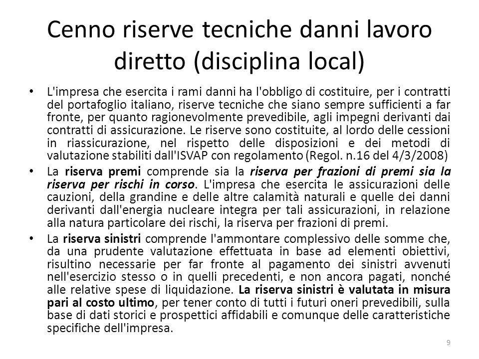 Cenno riserve tecniche danni lavoro diretto (disciplina local)