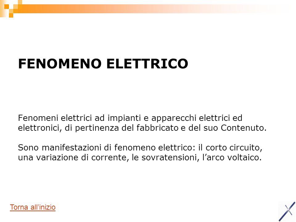 FENOMENO ELETTRICO Fenomeni elettrici ad impianti e apparecchi elettrici ed elettronici, di pertinenza del fabbricato e del suo Contenuto. Sono manifestazioni di fenomeno elettrico: il corto circuito, una variazione di corrente, le sovratensioni, l'arco voltaico.