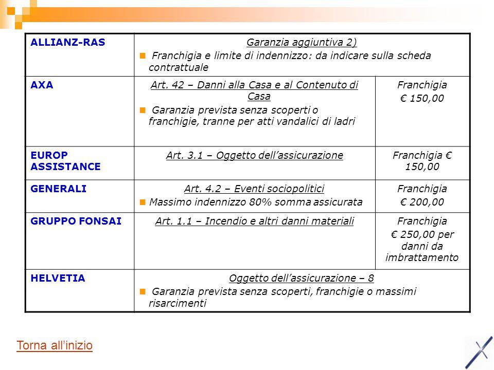 Torna all'inizio ALLIANZ-RAS Garanzia aggiuntiva 2)