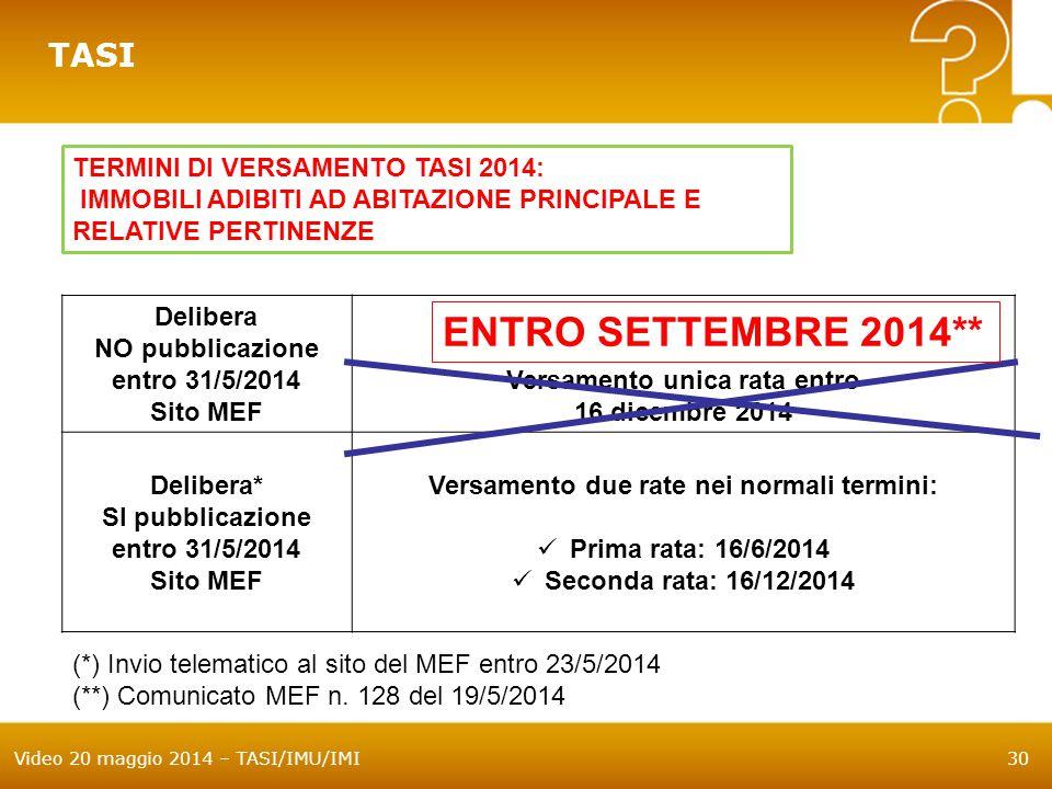 ENTRO SETTEMBRE 2014** TASI TERMINI DI VERSAMENTO TASI 2014: