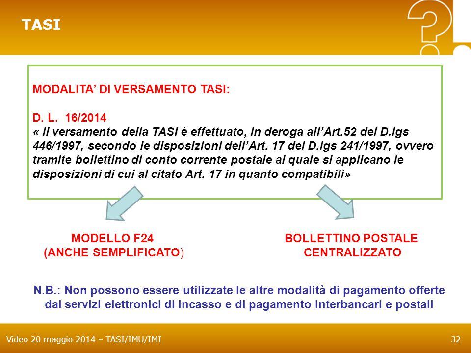 TASI MODALITA' DI VERSAMENTO TASI: D. L. 16/2014