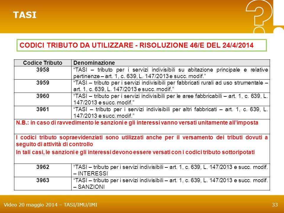 TASI CODICI TRIBUTO DA UTILIZZARE - RISOLUZIONE 46/E DEL 24/4/2014