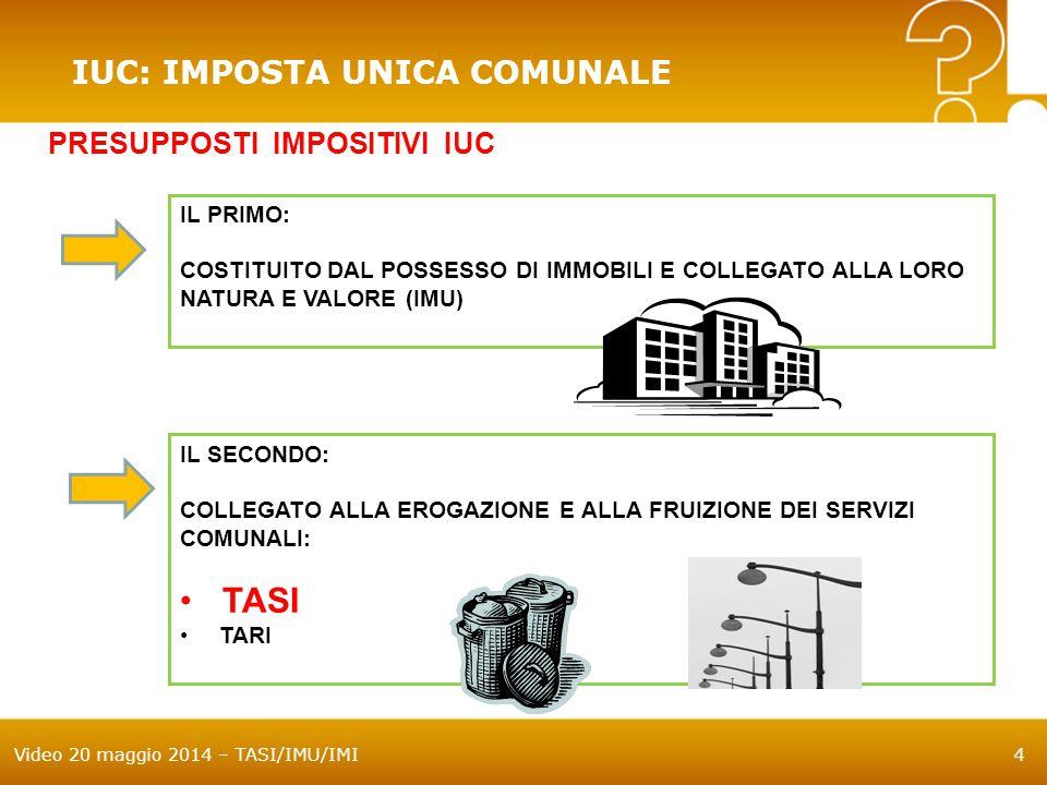 TASI IUC: IMPOSTA UNICA COMUNALE PRESUPPOSTI IMPOSITIVI IUC IL PRIMO: