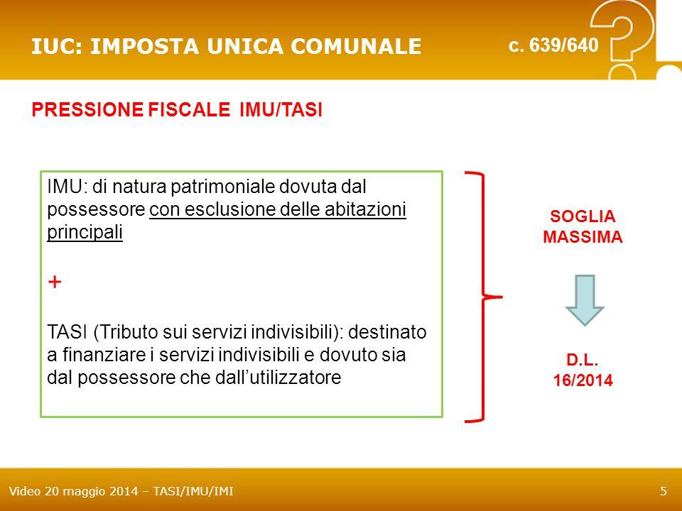 + IUC: IMPOSTA UNICA COMUNALE c. 639/640 PRESSIONE FISCALE IMU/TASI