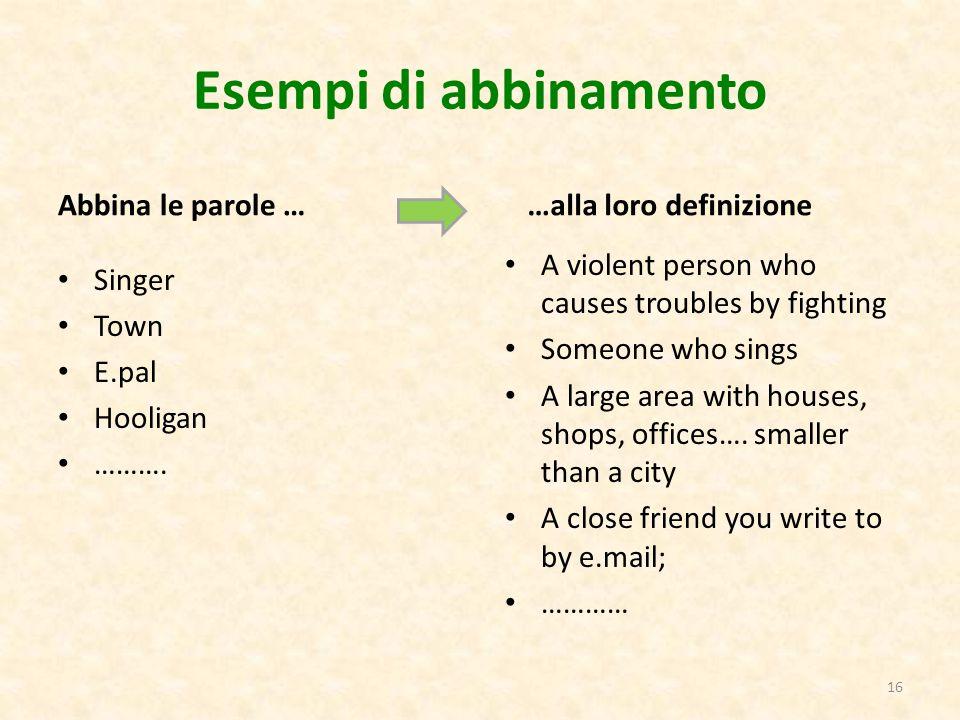 Esempi di abbinamento Abbina le parole … …alla loro definizione