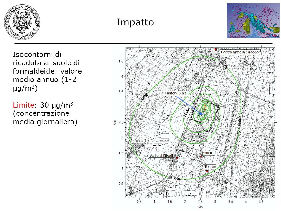 Impatto Isocontorni di ricaduta al suolo di formaldeide: valore medio annuo (1-2 µg/m3) Limite: 30 µg/m3.