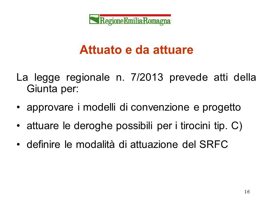 Attuato e da attuare La legge regionale n. 7/2013 prevede atti della Giunta per: approvare i modelli di convenzione e progetto.