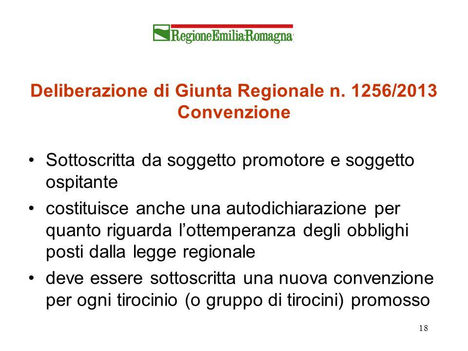 Deliberazione di Giunta Regionale n. 1256/2013 Convenzione