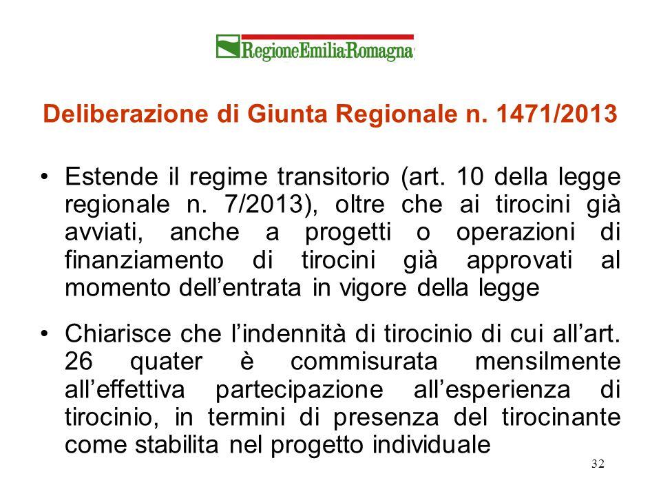 Deliberazione di Giunta Regionale n. 1471/2013