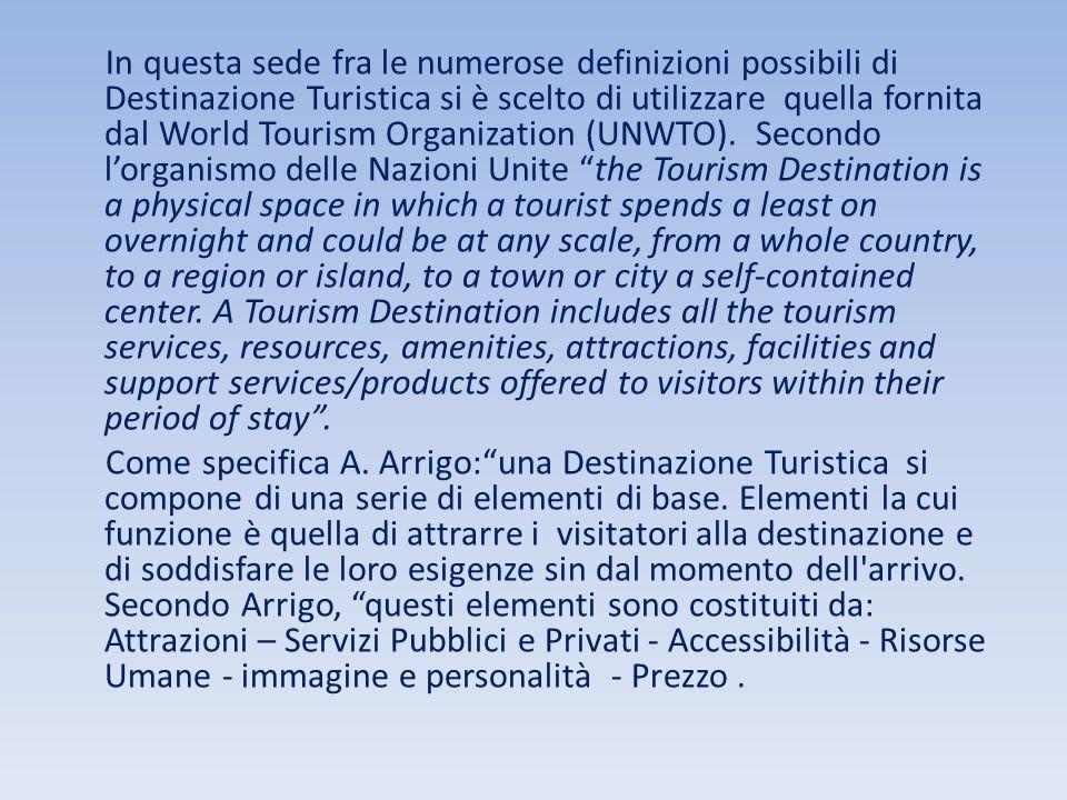 In questa sede fra le numerose definizioni possibili di Destinazione Turistica si è scelto di utilizzare quella fornita dal World Tourism Organization (UNWTO).