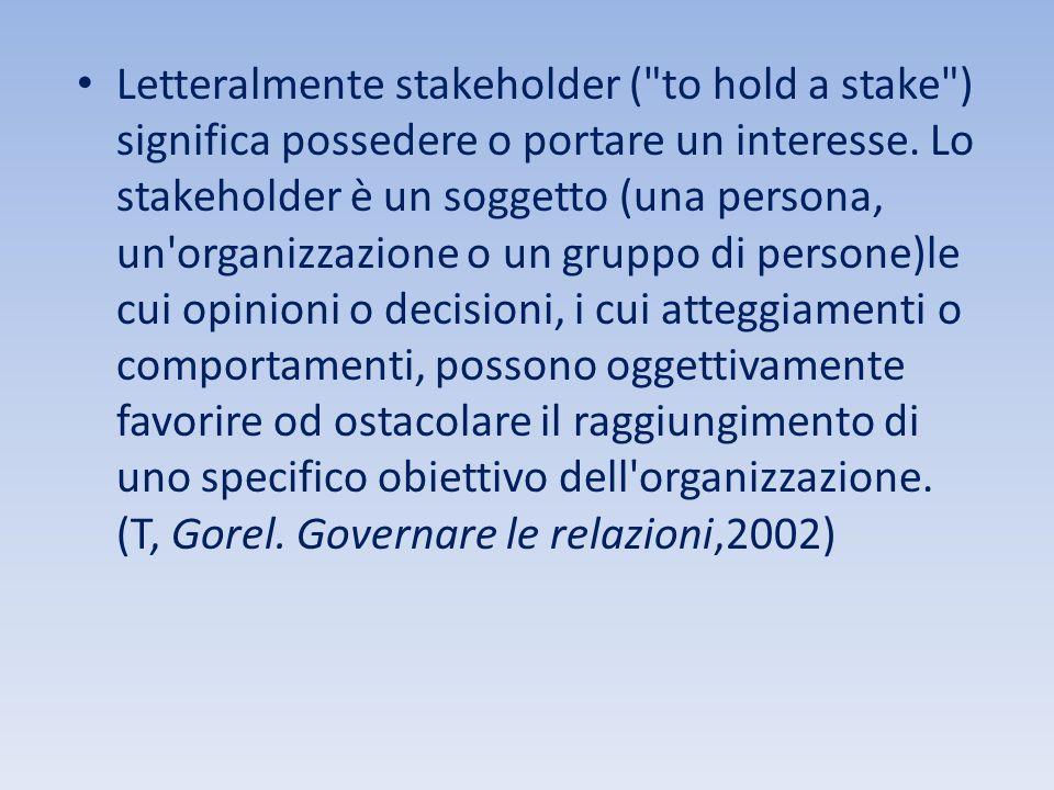 Letteralmente stakeholder ( to hold a stake ) significa possedere o portare un interesse.