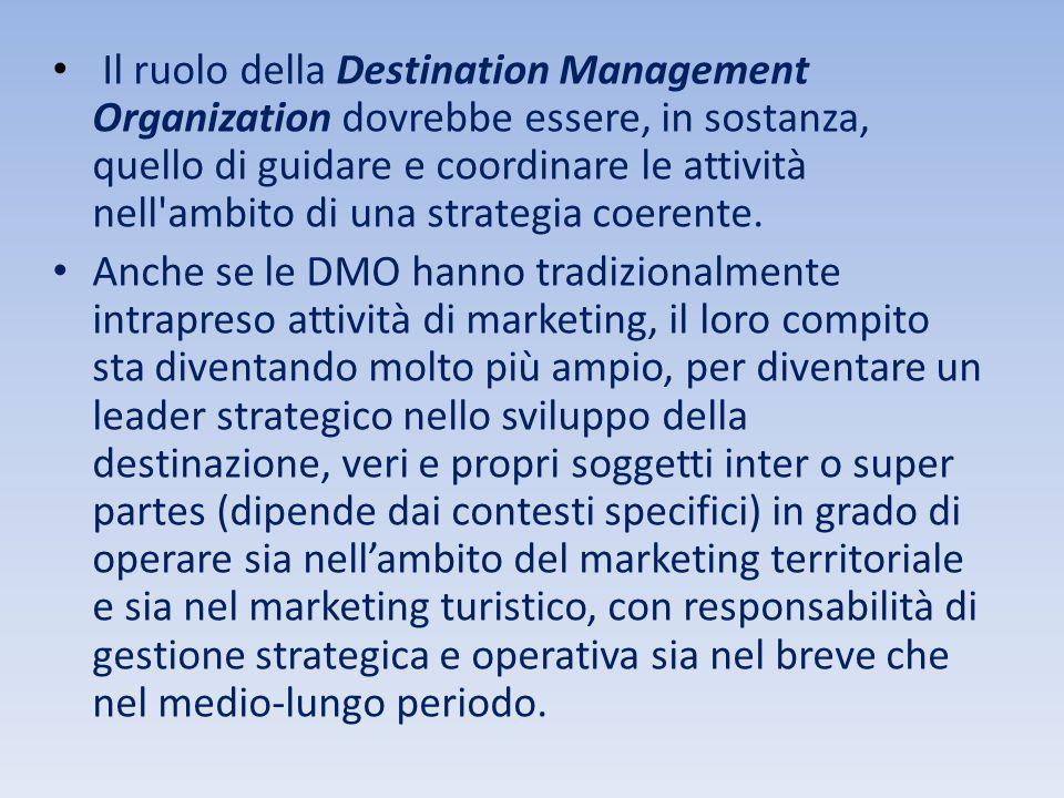 Il ruolo della Destination Management Organization dovrebbe essere, in sostanza, quello di guidare e coordinare le attività nell ambito di una strategia coerente.