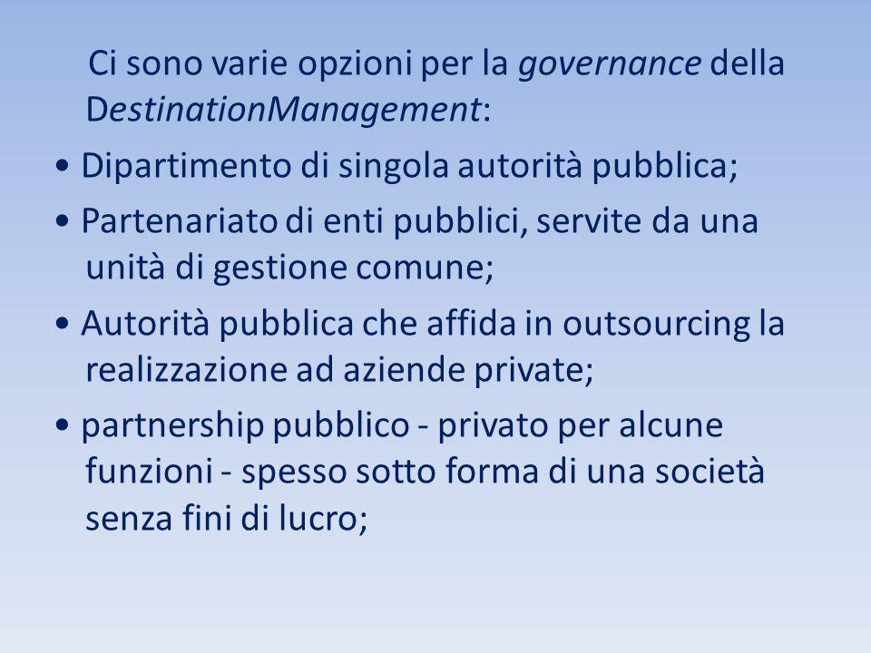 Ci sono varie opzioni per la governance della DestinationManagement: