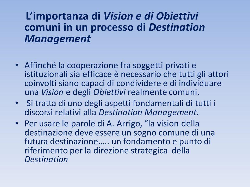 L'importanza di Vision e di Obiettivi comuni in un processo di Destination Management.