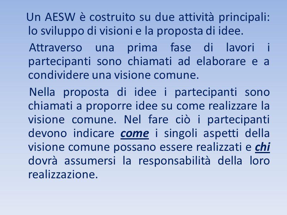 Un AESW è costruito su due attività principali: lo sviluppo di visioni e la proposta di idee.
