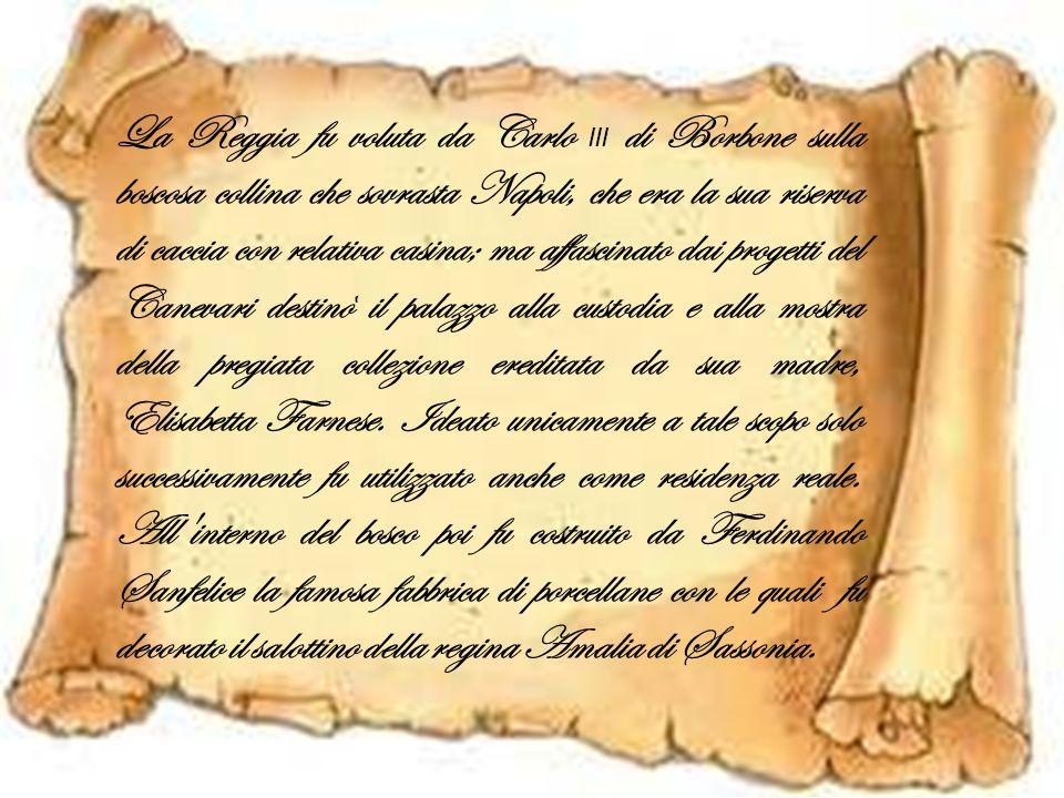 La Reggia fu voluta da Carlo III di Borbone sulla boscosa collina che sovrasta Napoli, che era la sua riserva di caccia con relativa casina; ma affascinato dai progetti del Canevari destinò il palazzo alla custodia e alla mostra della pregiata collezione ereditata da sua madre, Elisabetta Farnese.