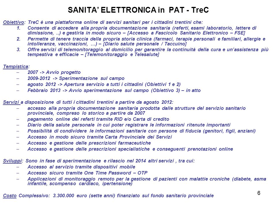 SANITA' ELETTRONICA in PAT - TreC