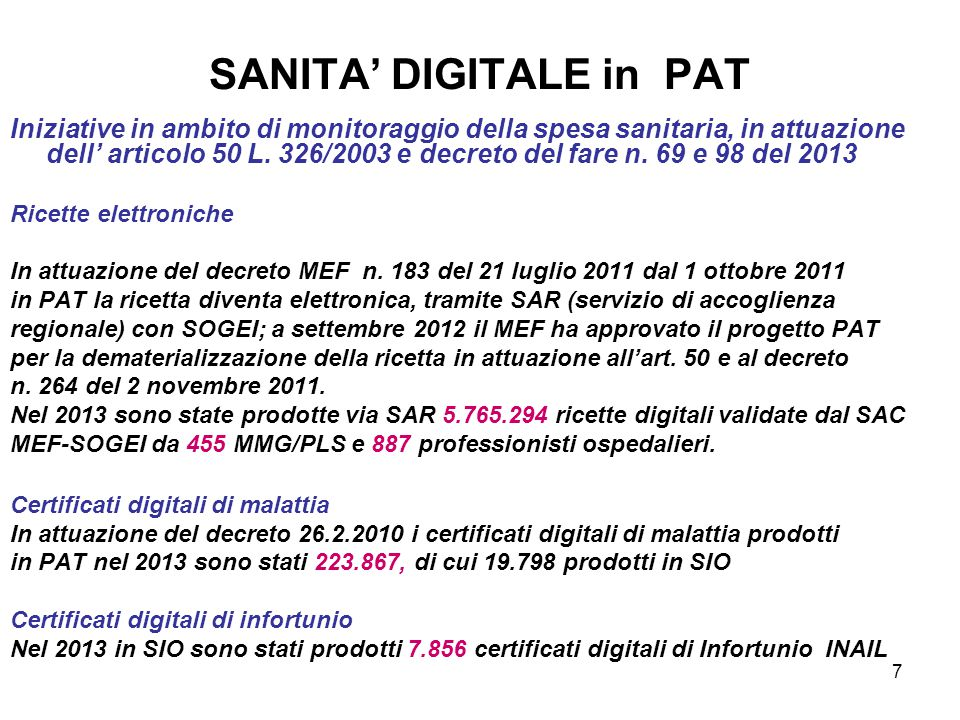 SANITA' DIGITALE in PAT