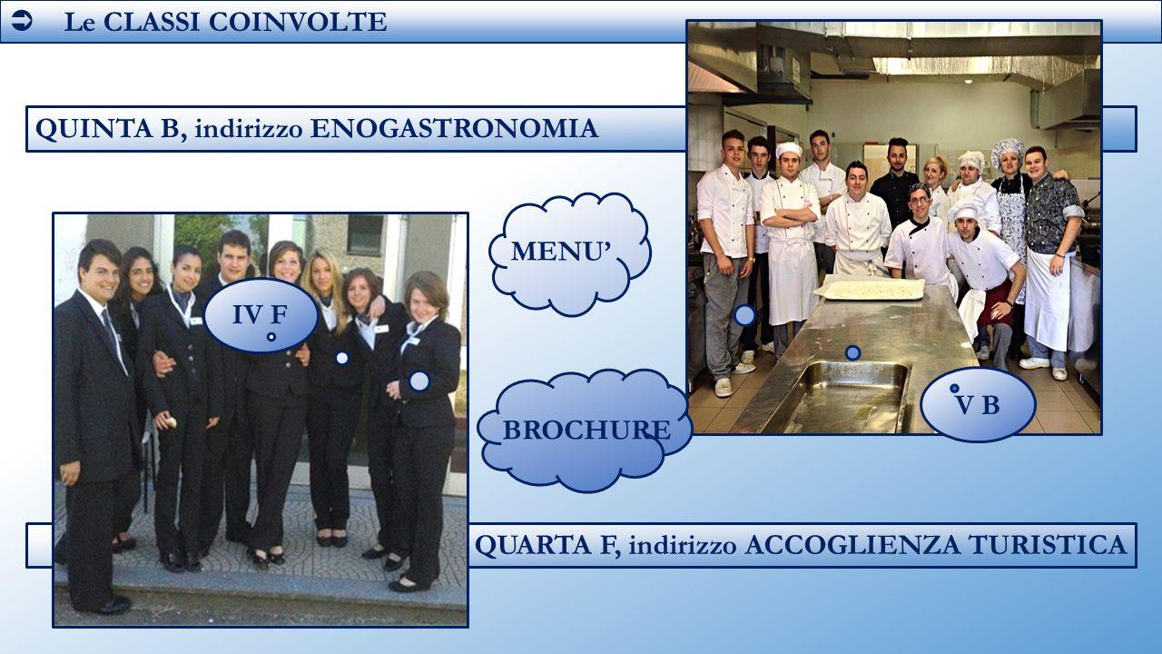  Le CLASSI COINVOLTE V B. QUINTA B, indirizzo ENOGASTRONOMIA.