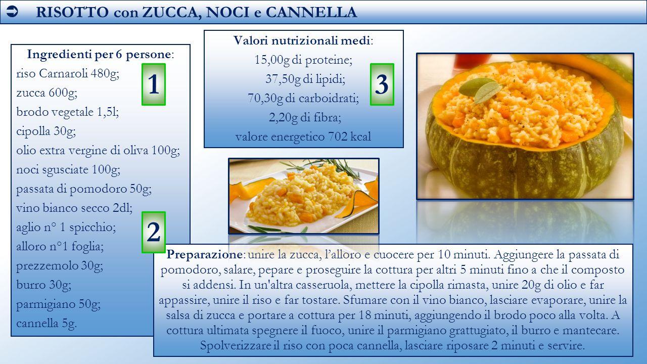 1 3 2  RISOTTO con ZUCCA, NOCI e CANNELLA Valori nutrizionali medi: