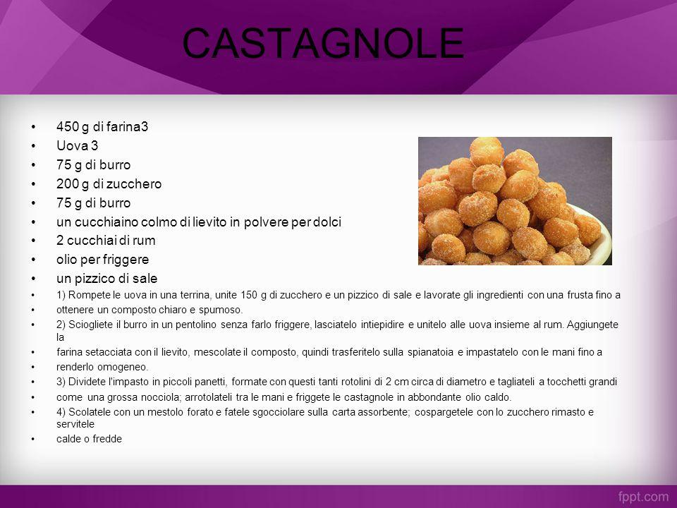 CASTAGNOLE 450 g di farina3 Uova 3 75 g di burro 200 g di zucchero