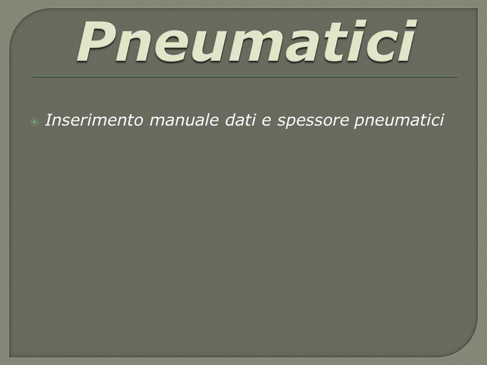 Pneumatici Inserimento manuale dati e spessore pneumatici