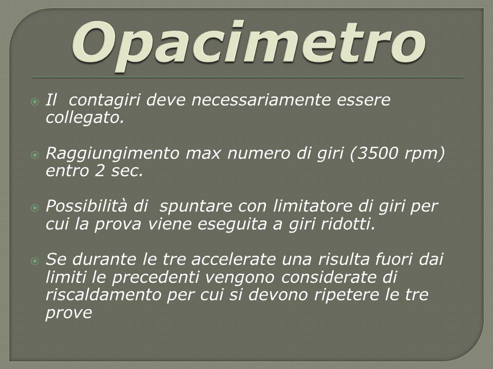 Opacimetro Il contagiri deve necessariamente essere collegato.