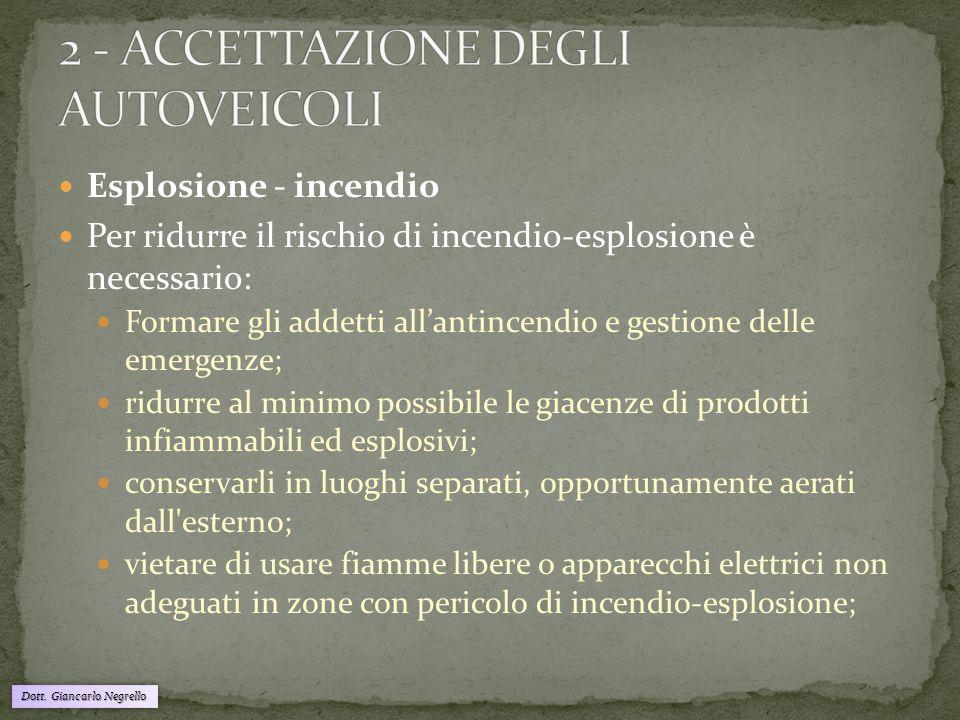 2 - ACCETTAZIONE DEGLI AUTOVEICOLI