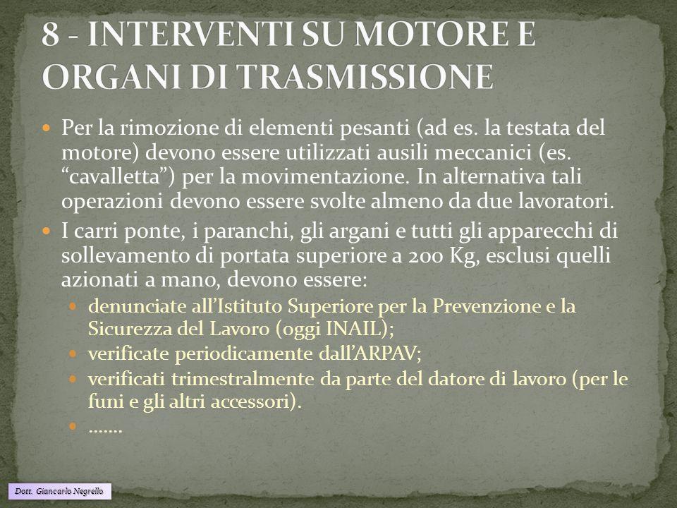 8 - INTERVENTI SU MOTORE E ORGANI DI TRASMISSIONE