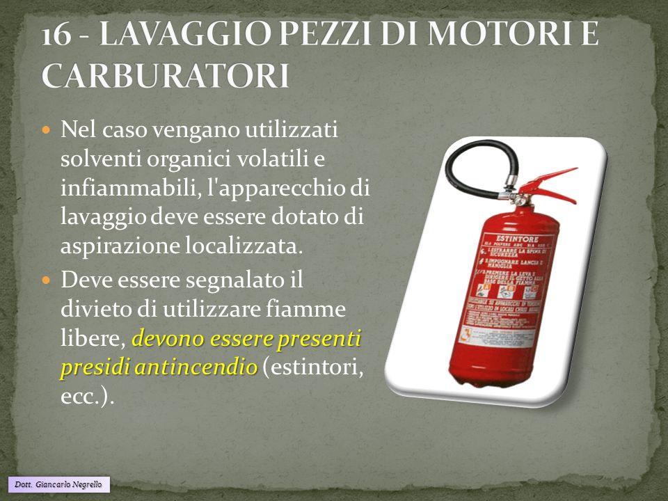 16 - LAVAGGIO PEZZI DI MOTORI E CARBURATORI