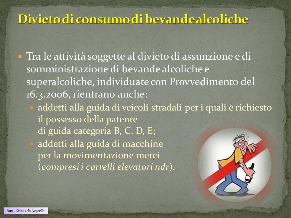 Divieto di consumo di bevande alcoliche