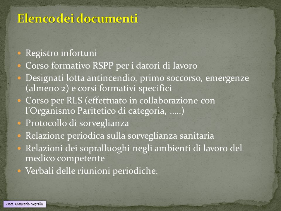 Elenco dei documenti Registro infortuni