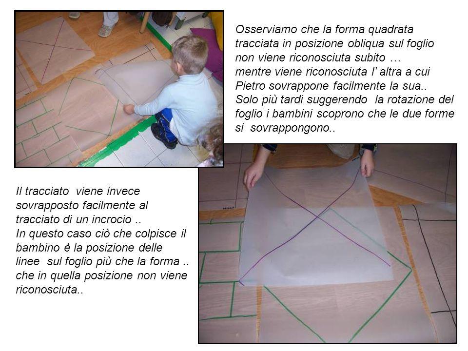 Osserviamo che la forma quadrata tracciata in posizione obliqua sul foglio non viene riconosciuta subito …