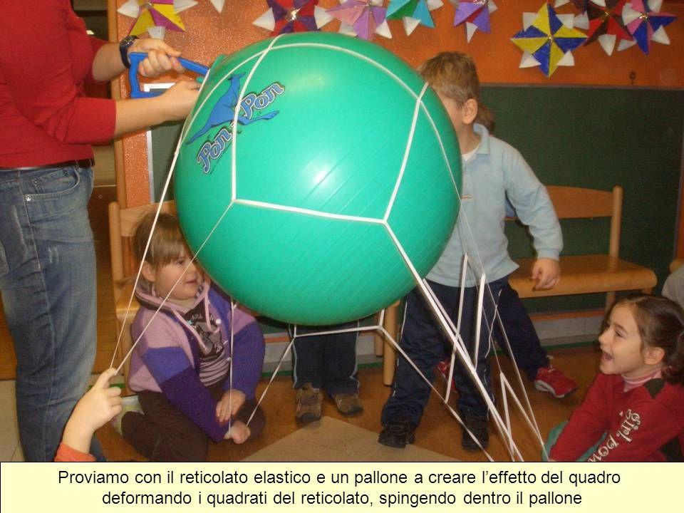 deformando i quadrati del reticolato, spingendo dentro il pallone