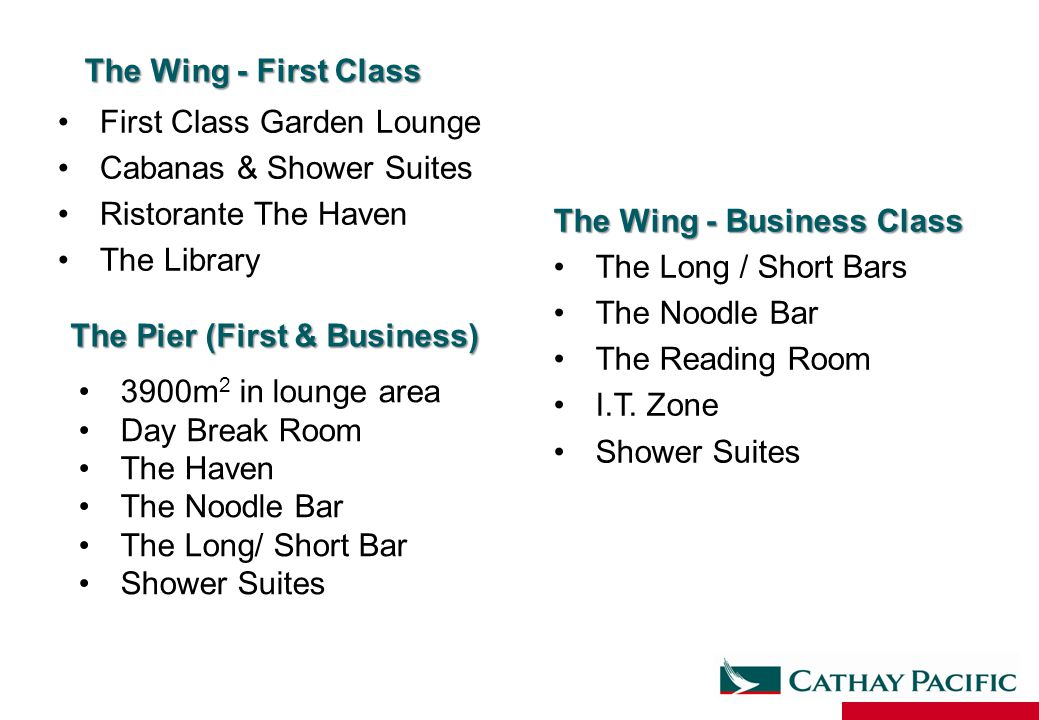 The Wing - First Class First Class Garden Lounge. Cabanas & Shower Suites. Ristorante The Haven. The Library.
