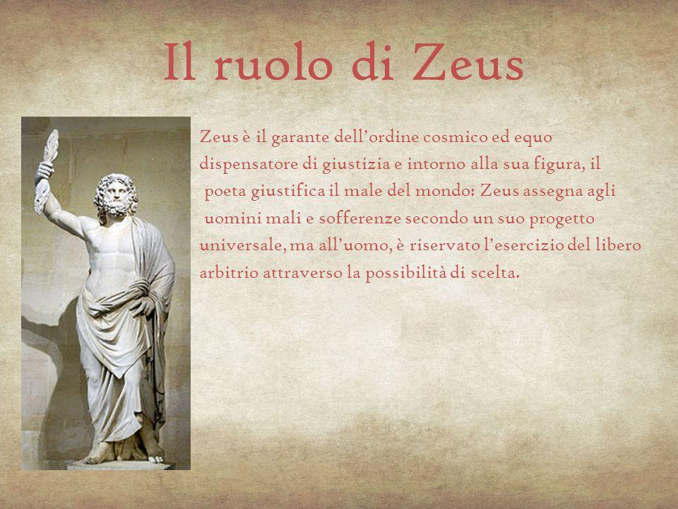 Il ruolo di Zeus Zeus è il garante dell'ordine cosmico ed equo