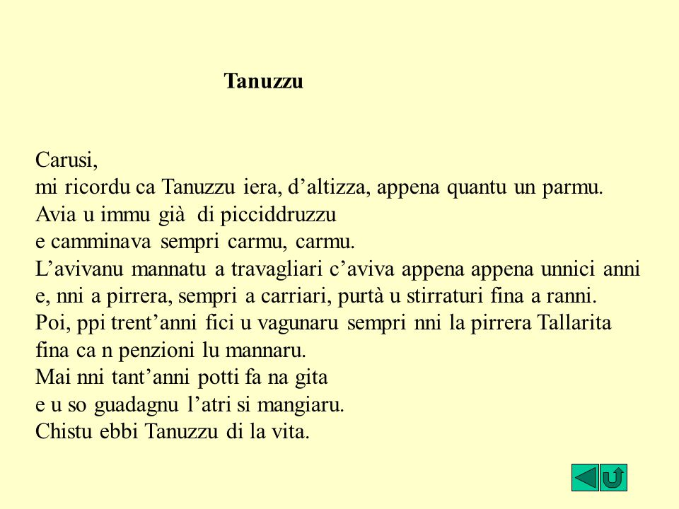 Tanuzzu Carusi, mi ricordu ca Tanuzzu iera, d'altizza, appena quantu un parmu. Avia u immu già di picciddruzzu.
