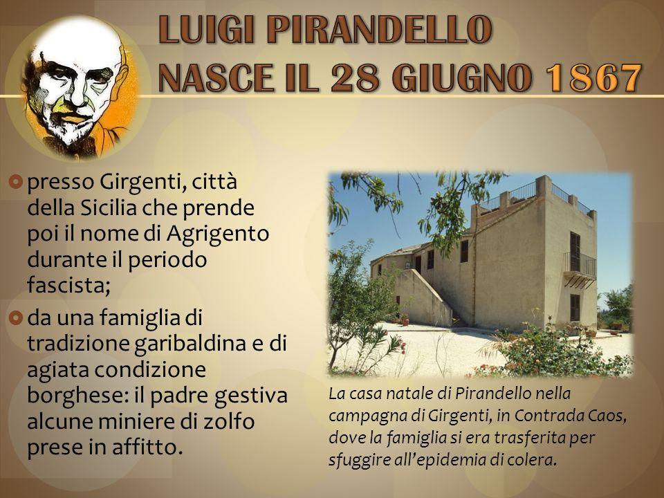 LUIGI PIRANDELLO NASCE IL 28 GIUGNO 1867
