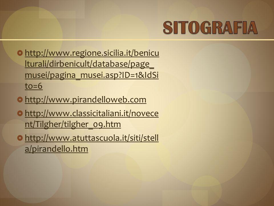 SITOGRAFIA http://www.regione.sicilia.it/benicu lturali/dirbenicult/database/page_ musei/pagina_musei.asp ID=1&IdSi to=6.