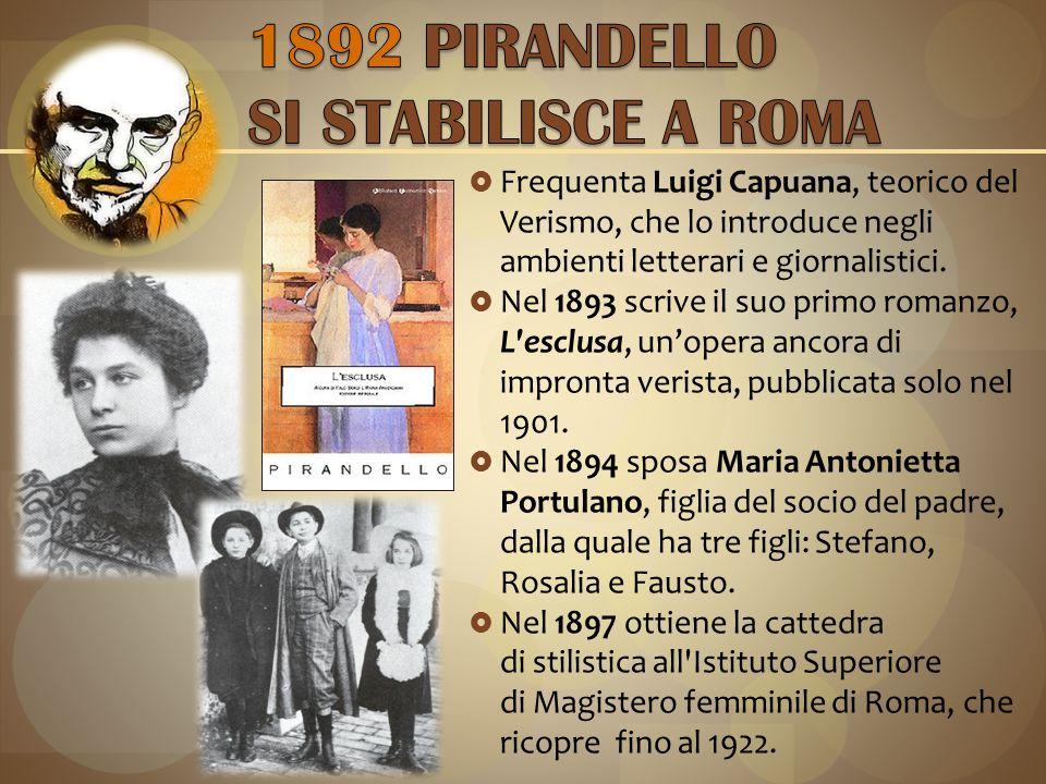 1892 PIRANDELLO SI STABILISCE A ROMA