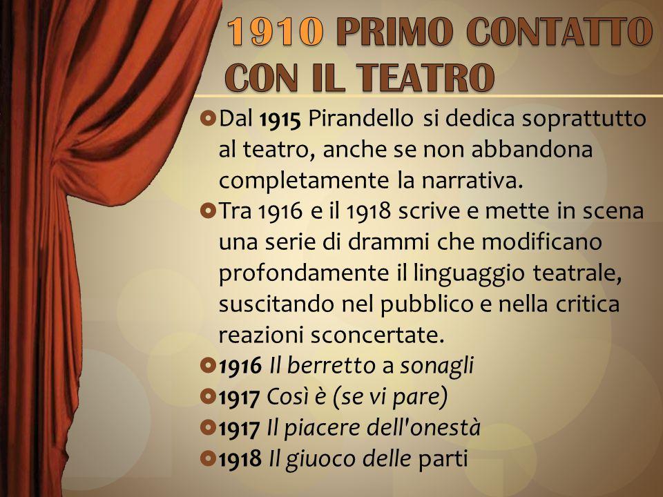 1910 PRIMO CONTATTO CON IL TEATRO