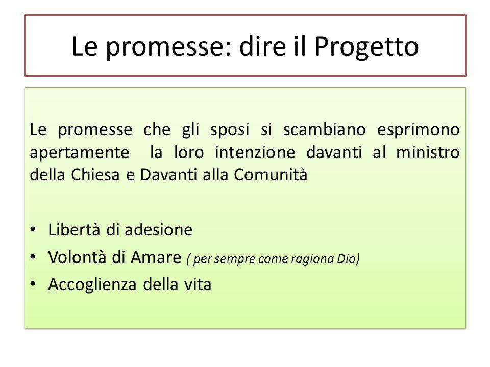 Le promesse: dire il Progetto