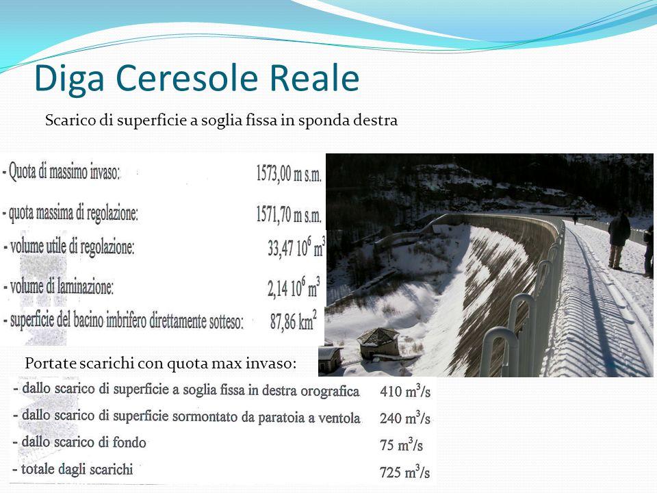Diga Ceresole Reale Scarico di superficie a soglia fissa in sponda destra.