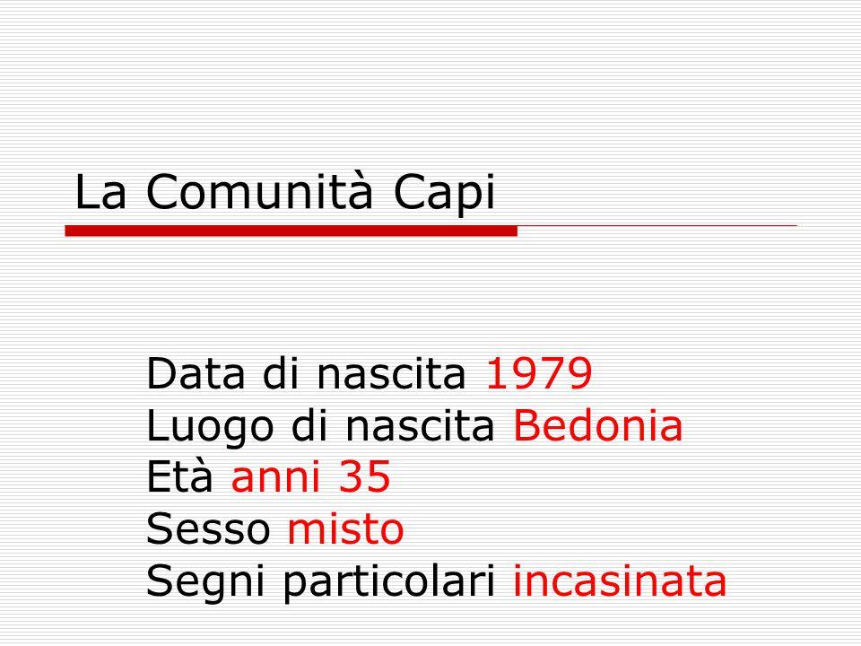 La Comunità Capi Data di nascita 1979 Luogo di nascita Bedonia