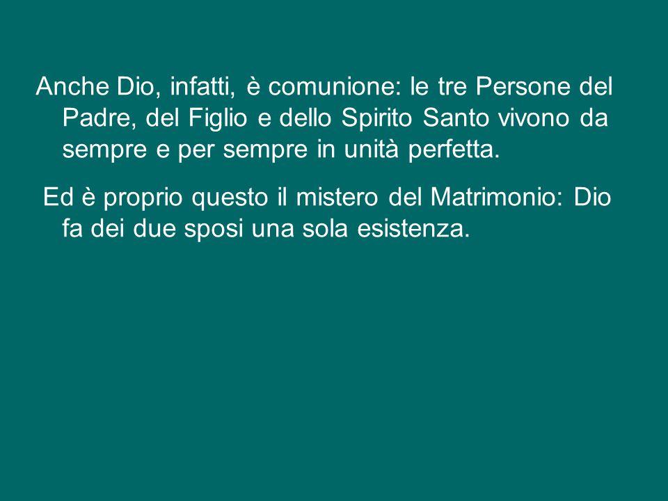 Anche Dio, infatti, è comunione: le tre Persone del Padre, del Figlio e dello Spirito Santo vivono da sempre e per sempre in unità perfetta.